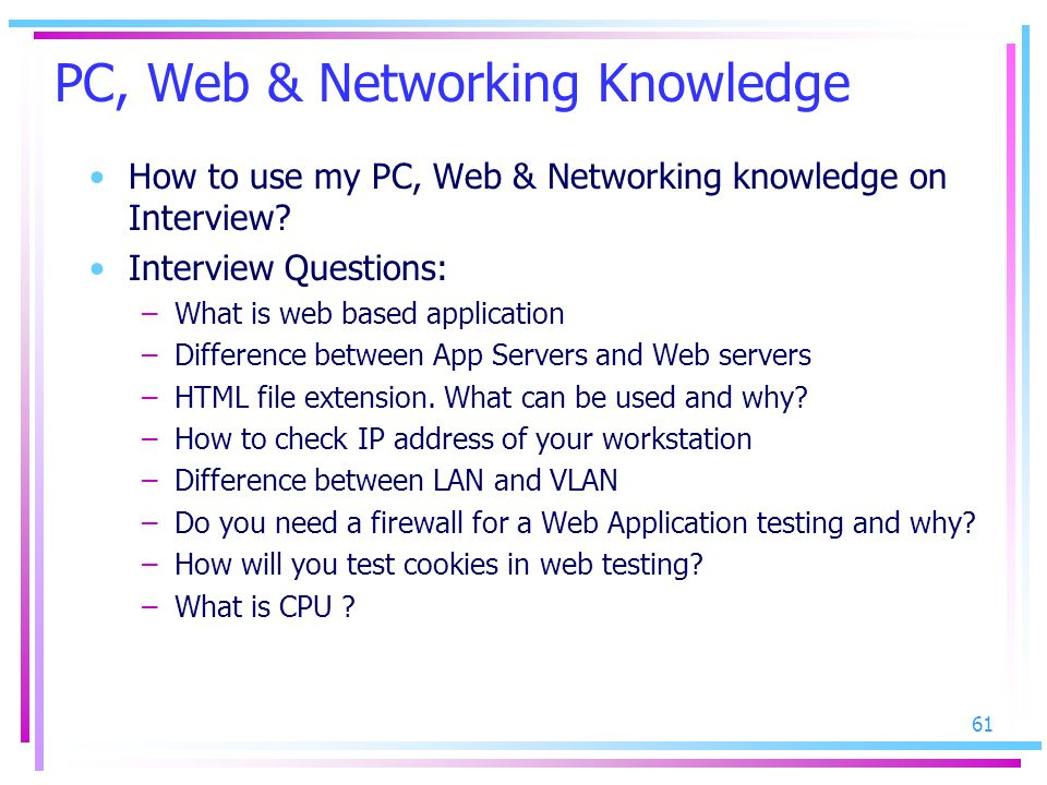 PC, Web & Networking Knowledge