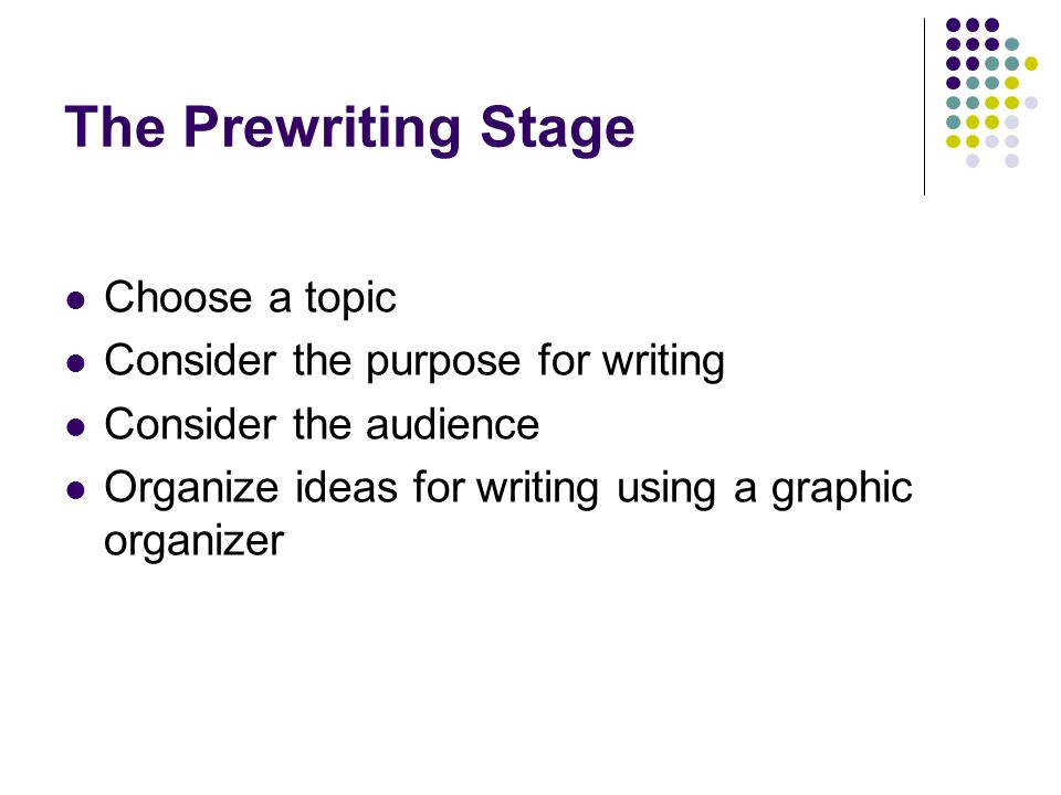 The Prewriting Stage Choose a topic Consider the purpose for writing