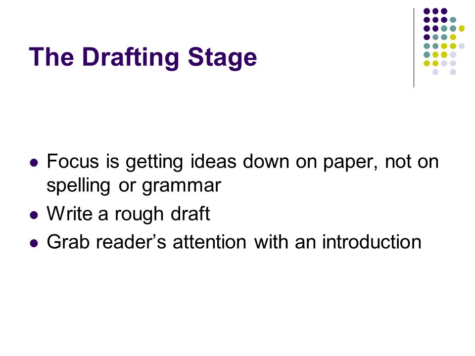 The Drafting Stage Focus is getting ideas down on paper, not on spelling or grammar. Write a rough draft.