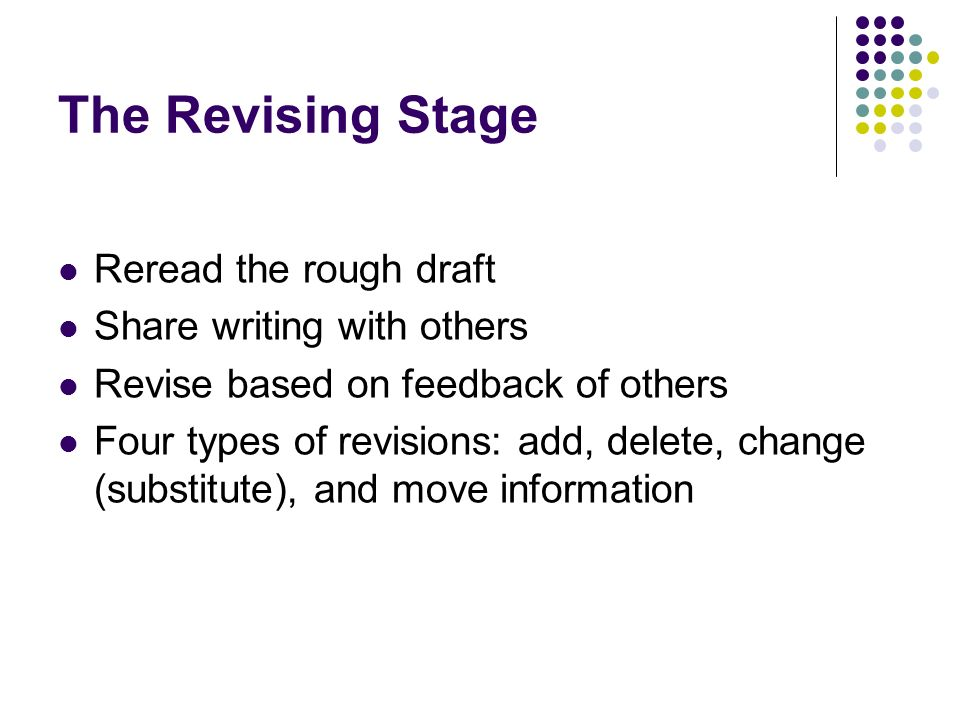 The Revising Stage Reread the rough draft Share writing with others
