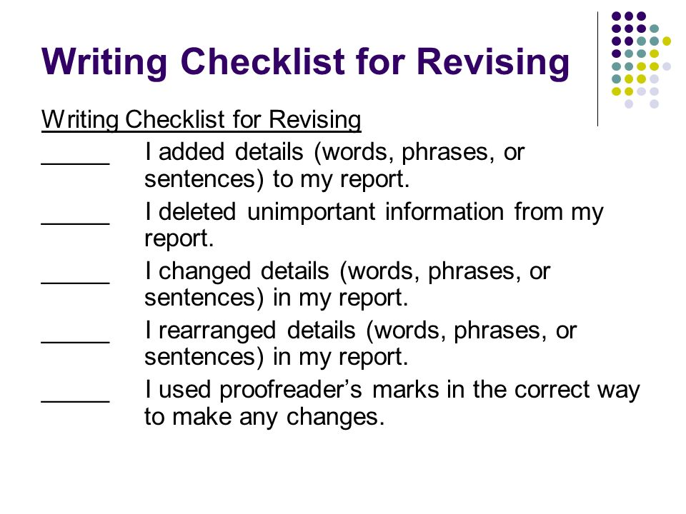 Writing Checklist for Revising