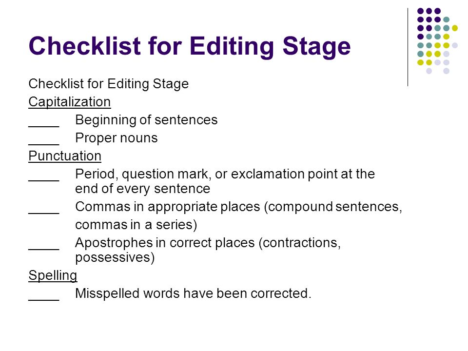 Checklist for Editing Stage
