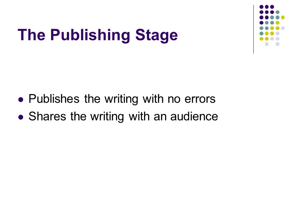 The Publishing Stage Publishes the writing with no errors