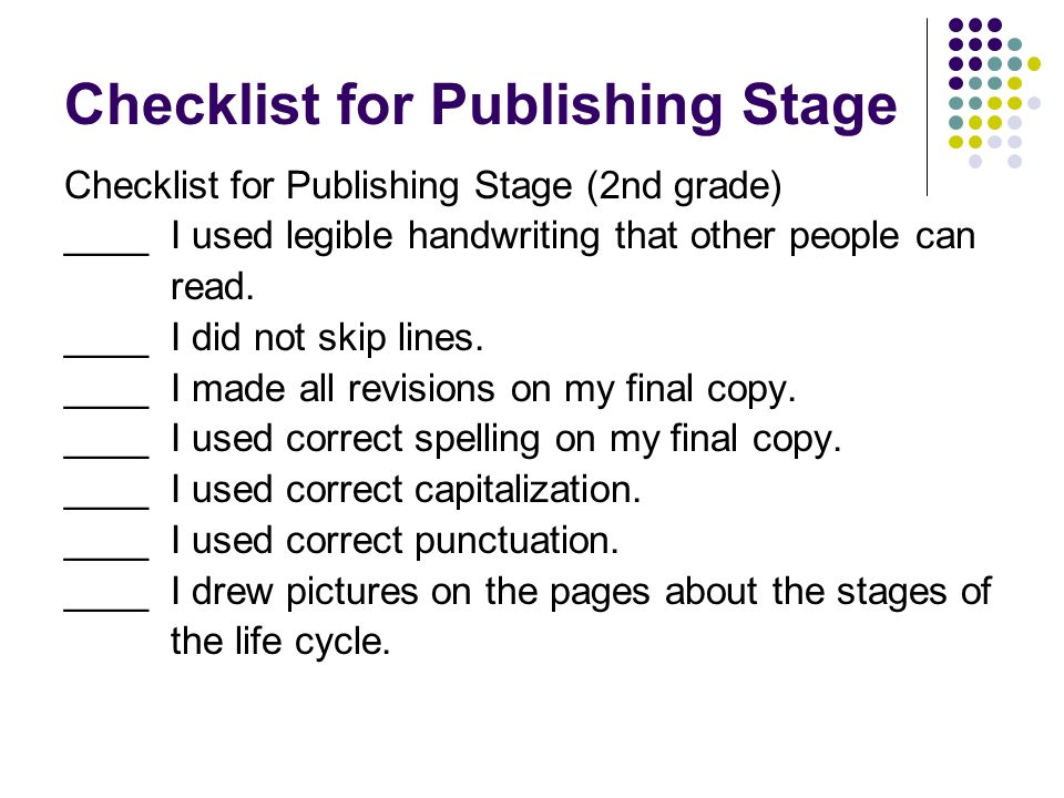 Checklist for Publishing Stage