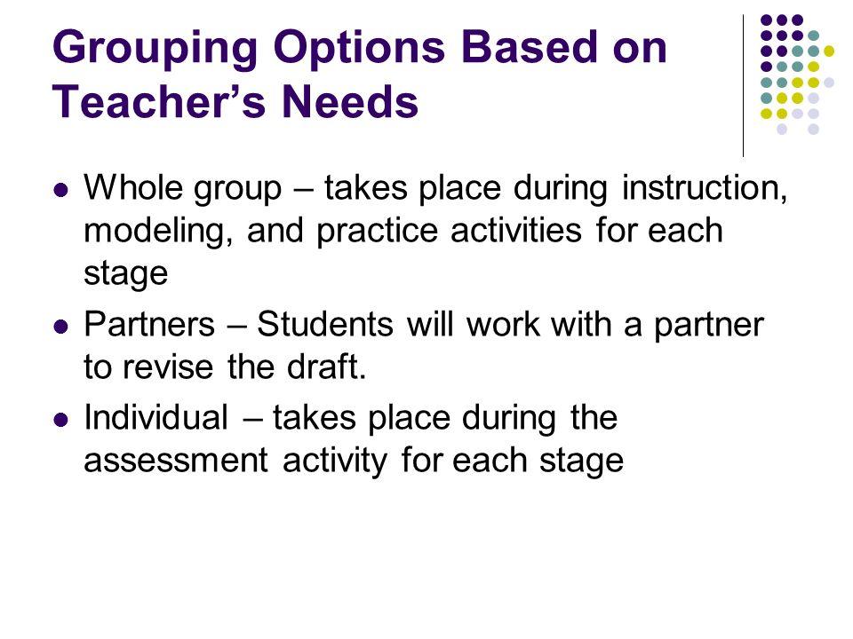 Grouping Options Based on Teacher's Needs