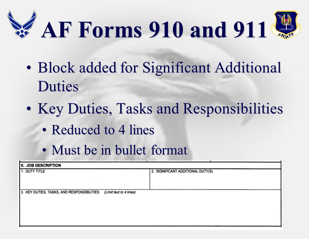 AF Forms 910 and 911 Block added for Significant Additional Duties