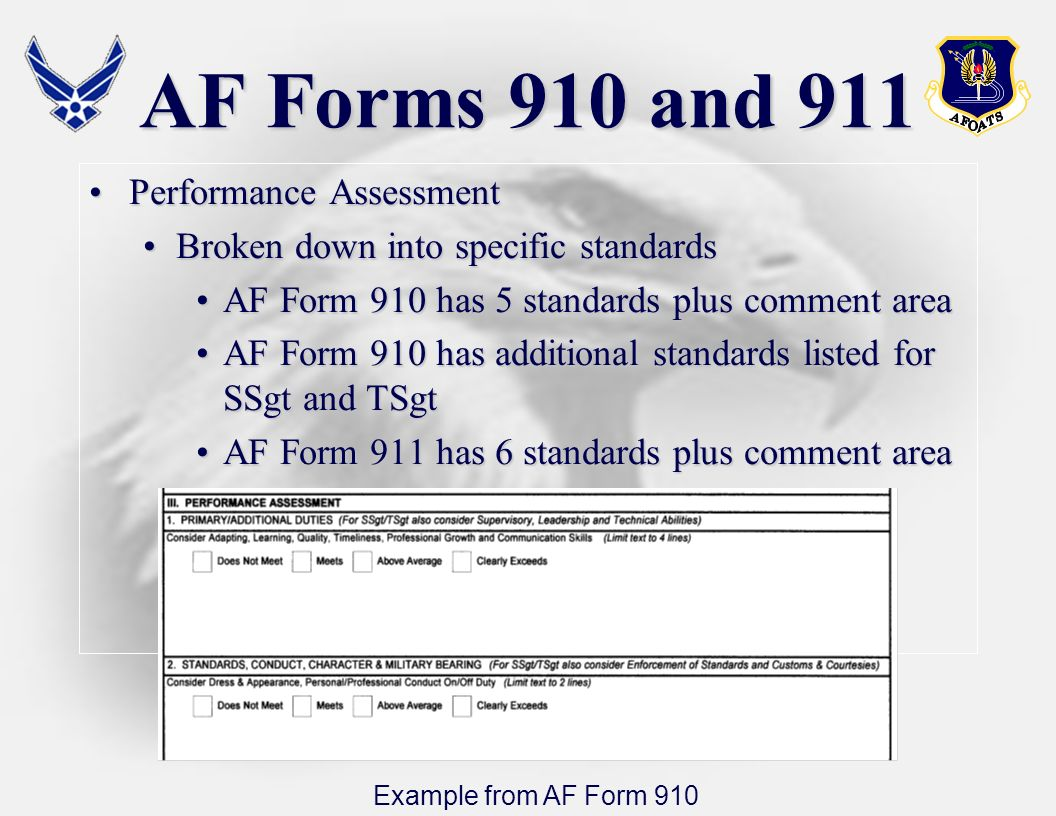 AF Forms 910 and 911 Performance Assessment