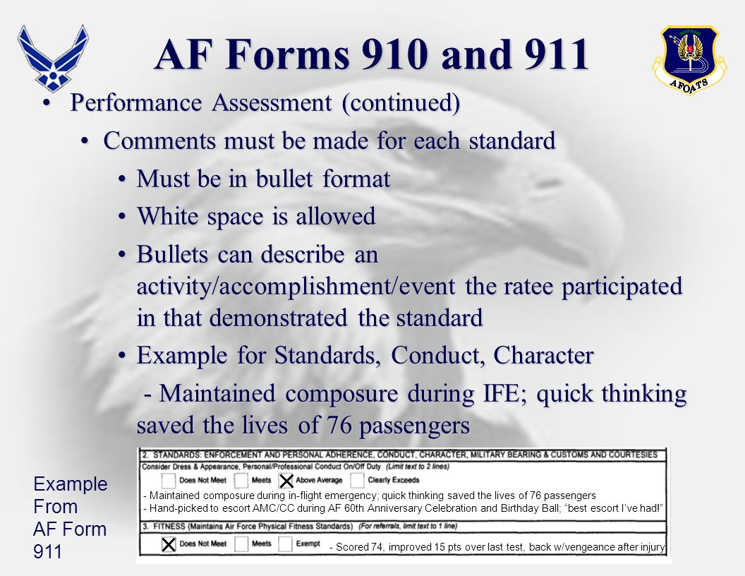 AF Forms 910 and 911 Performance Assessment (continued)
