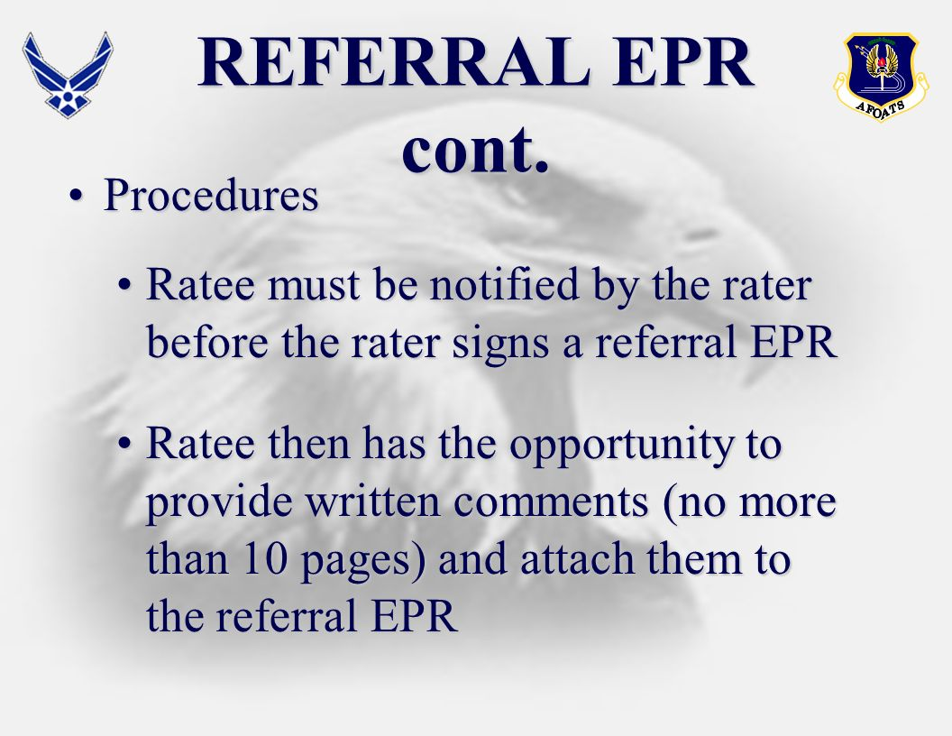 REFERRAL EPR cont. Procedures