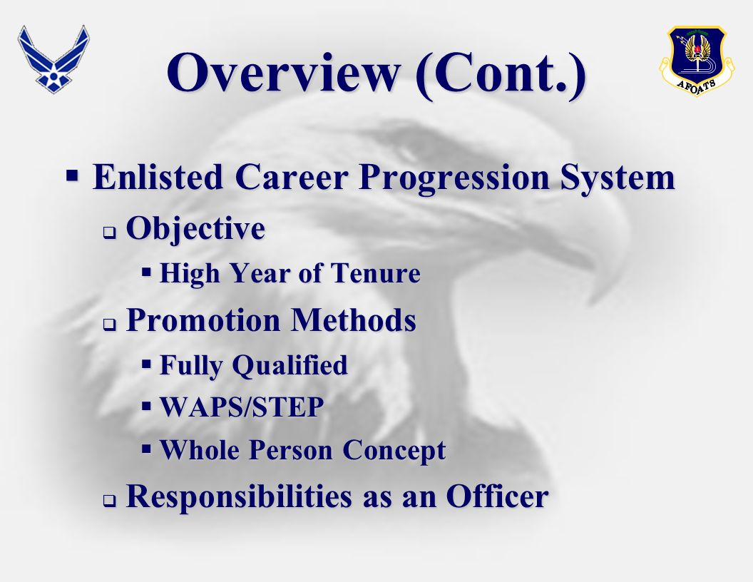Overview (Cont.) Enlisted Career Progression System Objective