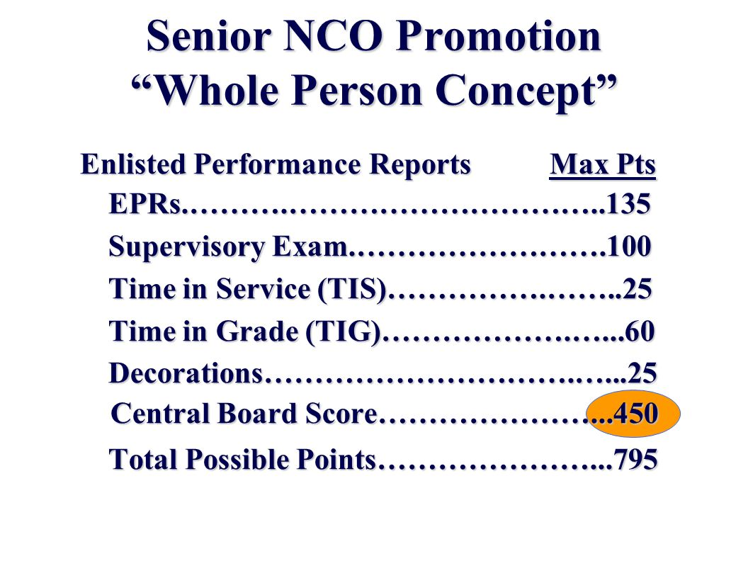 Senior NCO Promotion Whole Person Concept