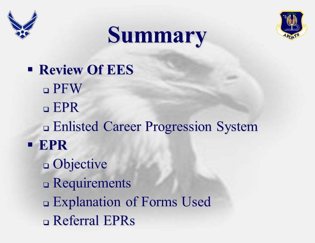 Summary Review Of EES PFW EPR Enlisted Career Progression System