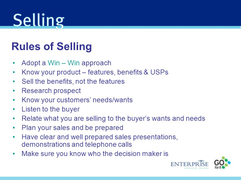 Rules of Selling Adopt a Win – Win approach