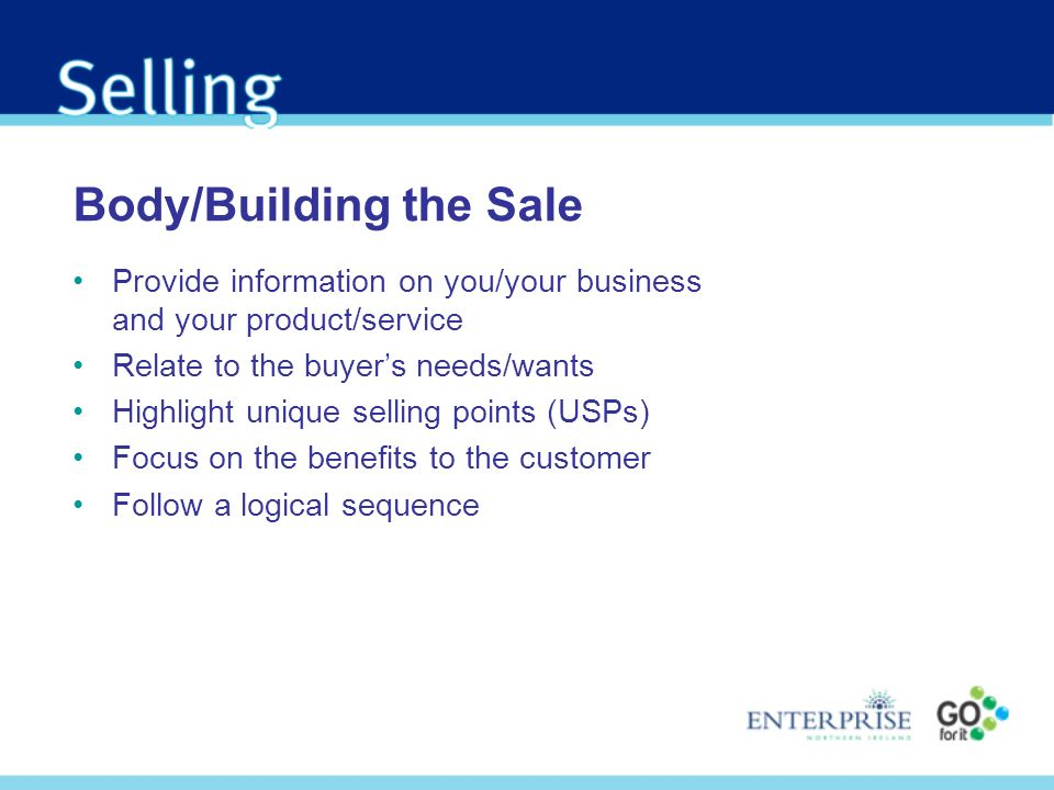 Body/Building the Sale