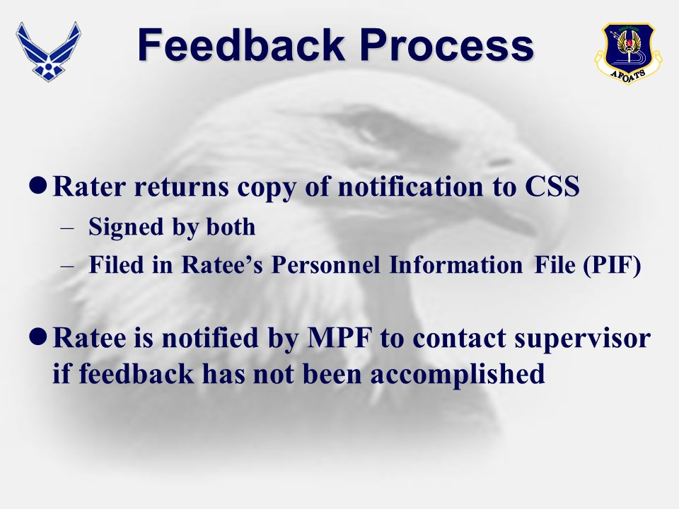 Feedback Process Rater returns copy of notification to CSS