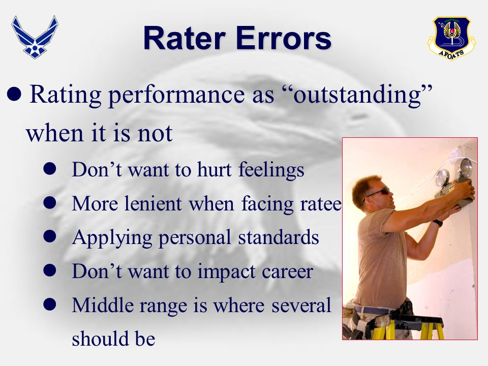 Rater Errors when it is not Rating performance as outstanding