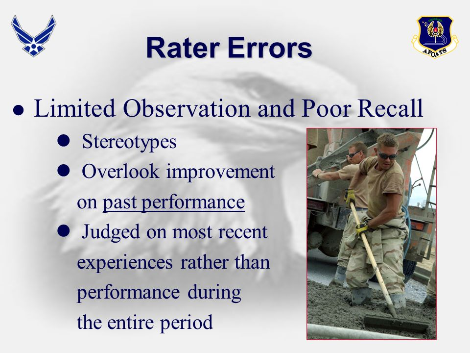 Rater Errors Stereotypes Overlook improvement on past performance