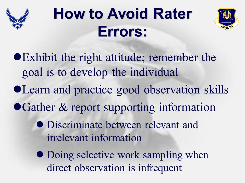 How to Avoid Rater Errors:
