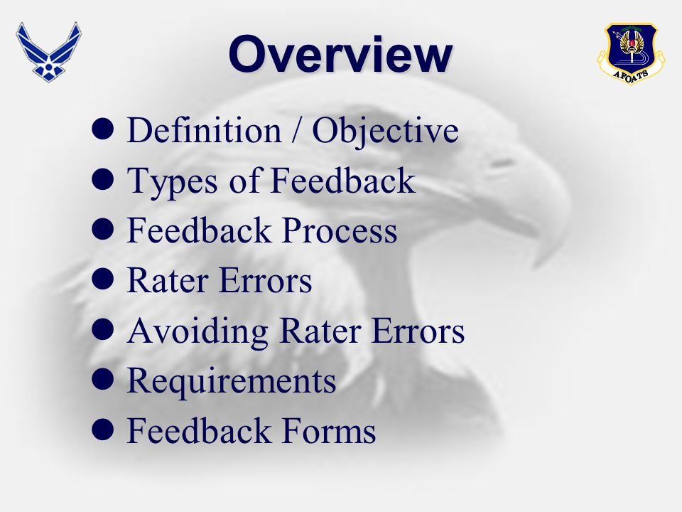 Overview Definition / Objective Types of Feedback Feedback Process