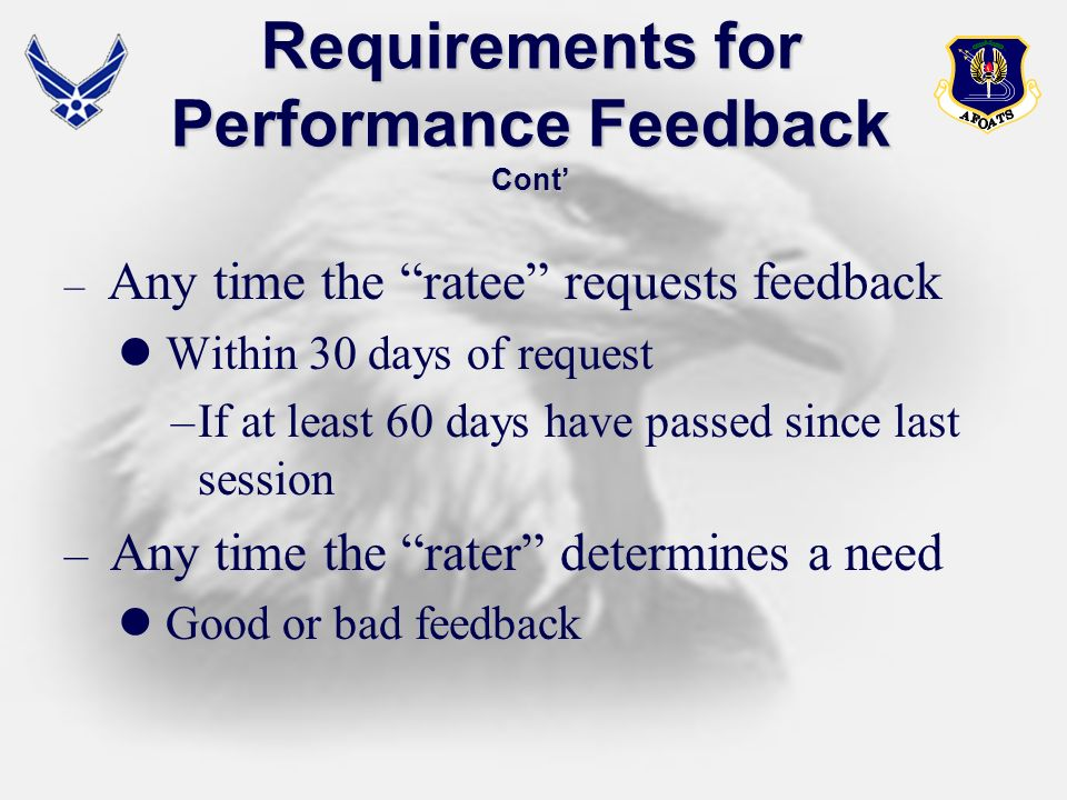 Requirements for Performance Feedback Cont'