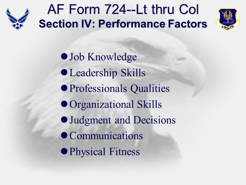 AF Form 724--Lt thru Col Section IV: Performance Factors