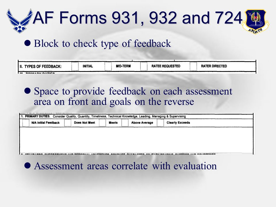 AF Forms 931, 932 and 724 Block to check type of feedback
