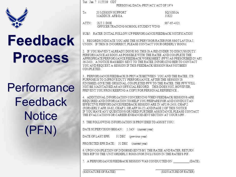 Feedback Process Performance Feedback Notice (PFN)