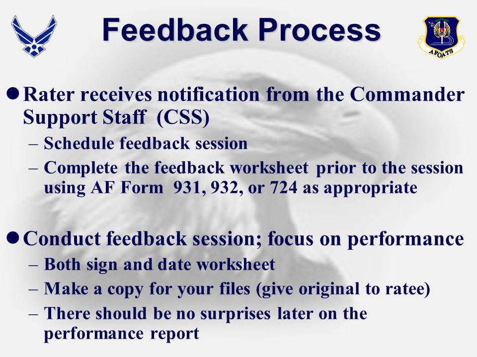 Feedback Process Rater receives notification from the Commander Support Staff (CSS) Schedule feedback session.