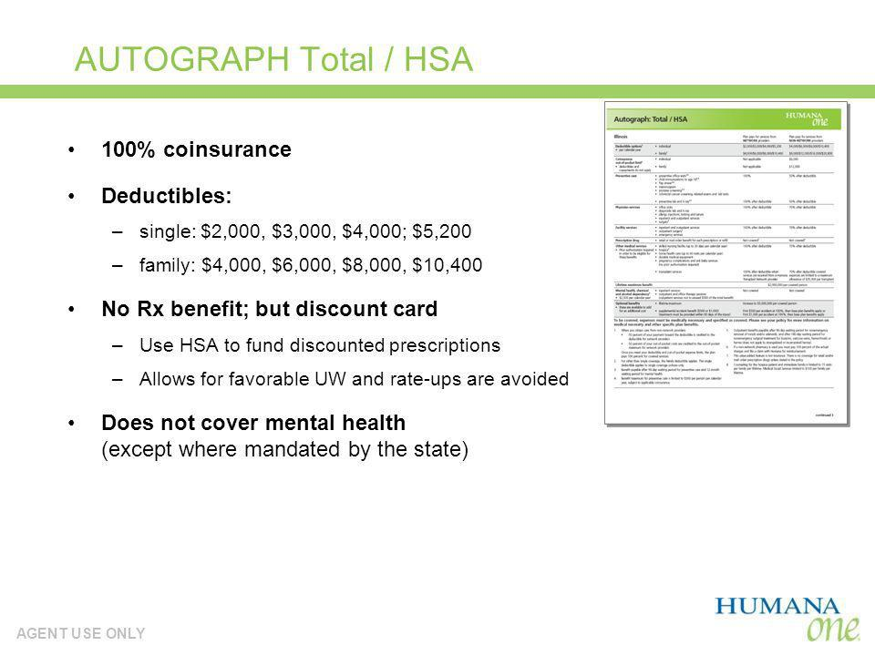 AUTOGRAPH Total / HSA 100% coinsurance Deductibles:
