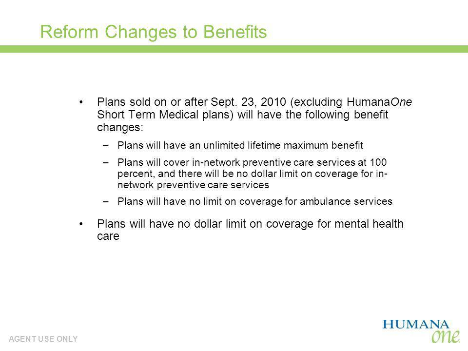 Reform Changes to Benefits