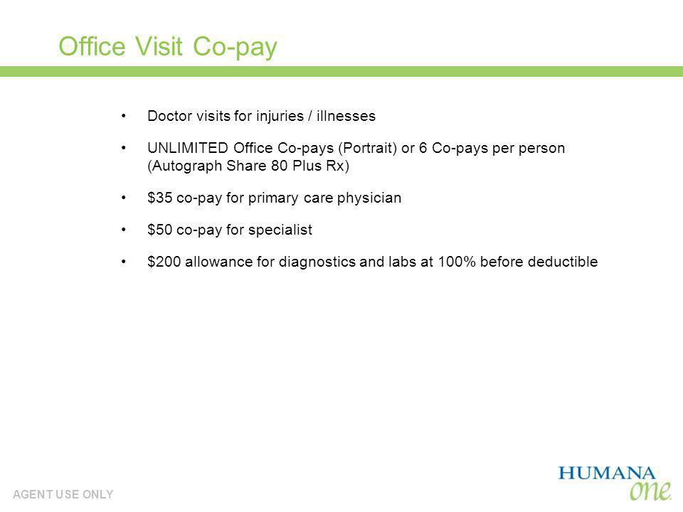 Office Visit Co-pay Doctor visits for injuries / illnesses