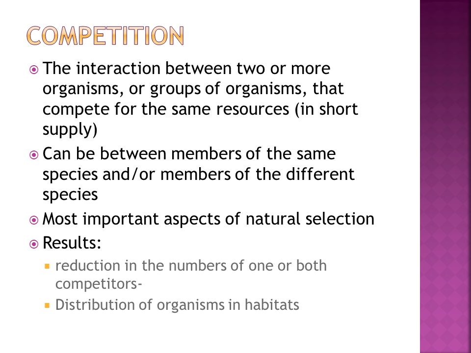 Competition The interaction between two or more organisms, or groups of organisms, that compete for the same resources (in short supply)