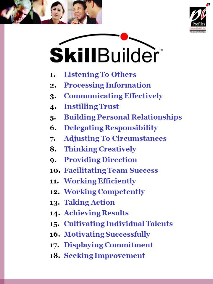 Listening To Others Processing Information. Communicating Effectively. Instilling Trust. Building Personal Relationships.