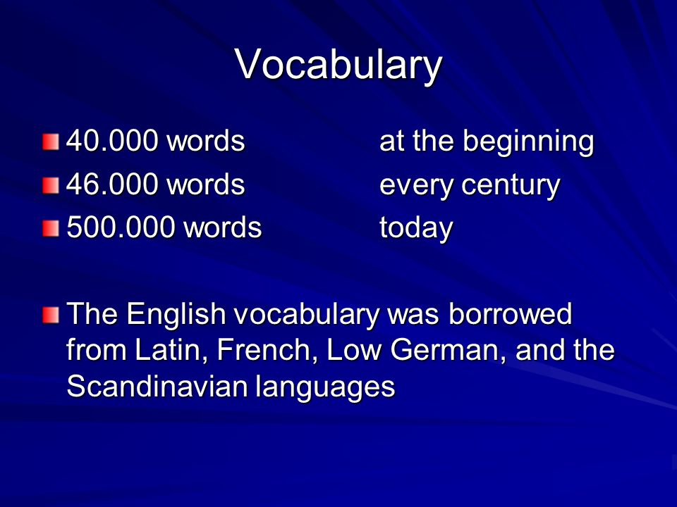 Vocabulary words at the beginning words every century