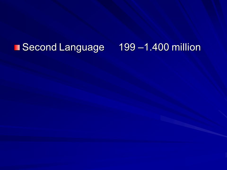 Second Language 199 –1.400 million