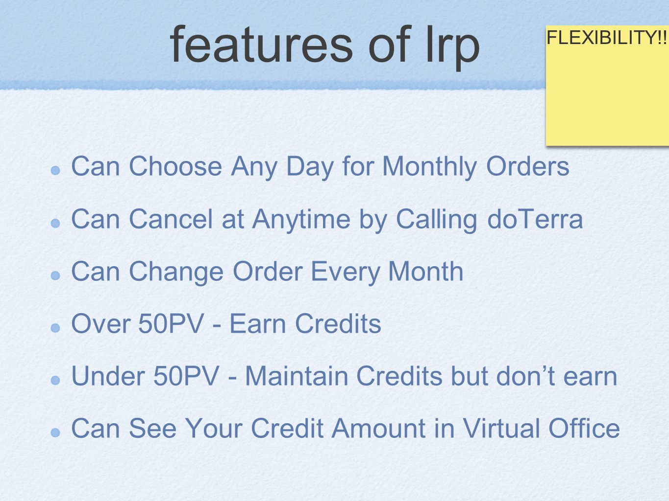 features of lrp Can Choose Any Day for Monthly Orders