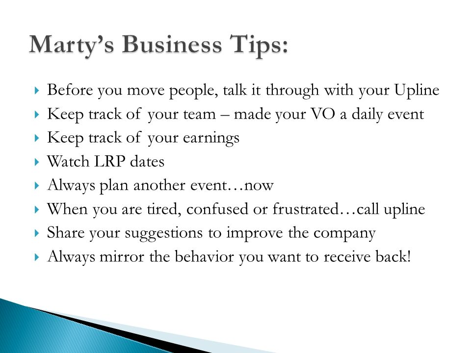 Marty's Business Tips: