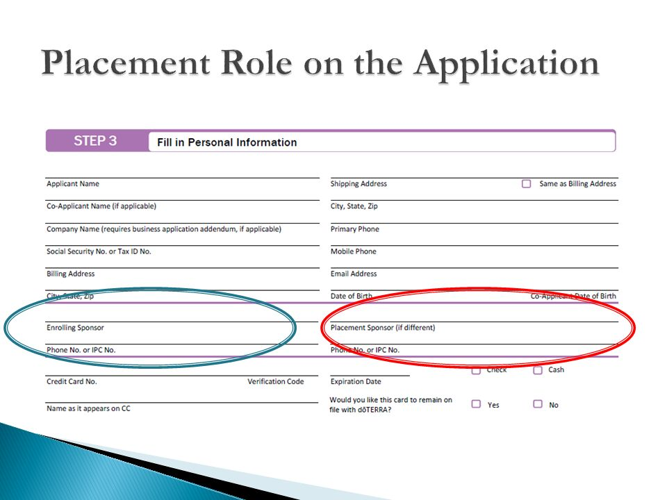Placement Role on the Application