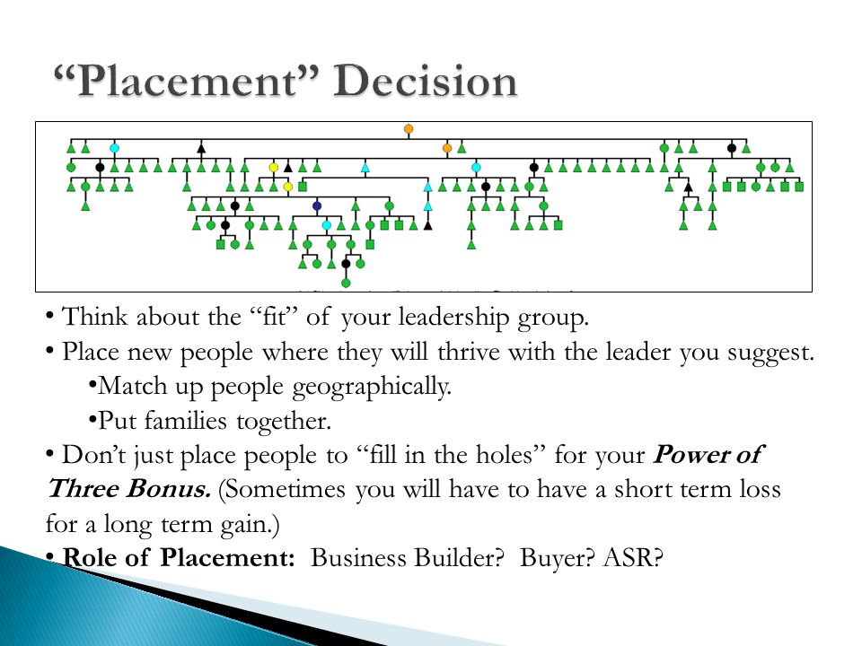 Placement Decision Think about the fit of your leadership group.