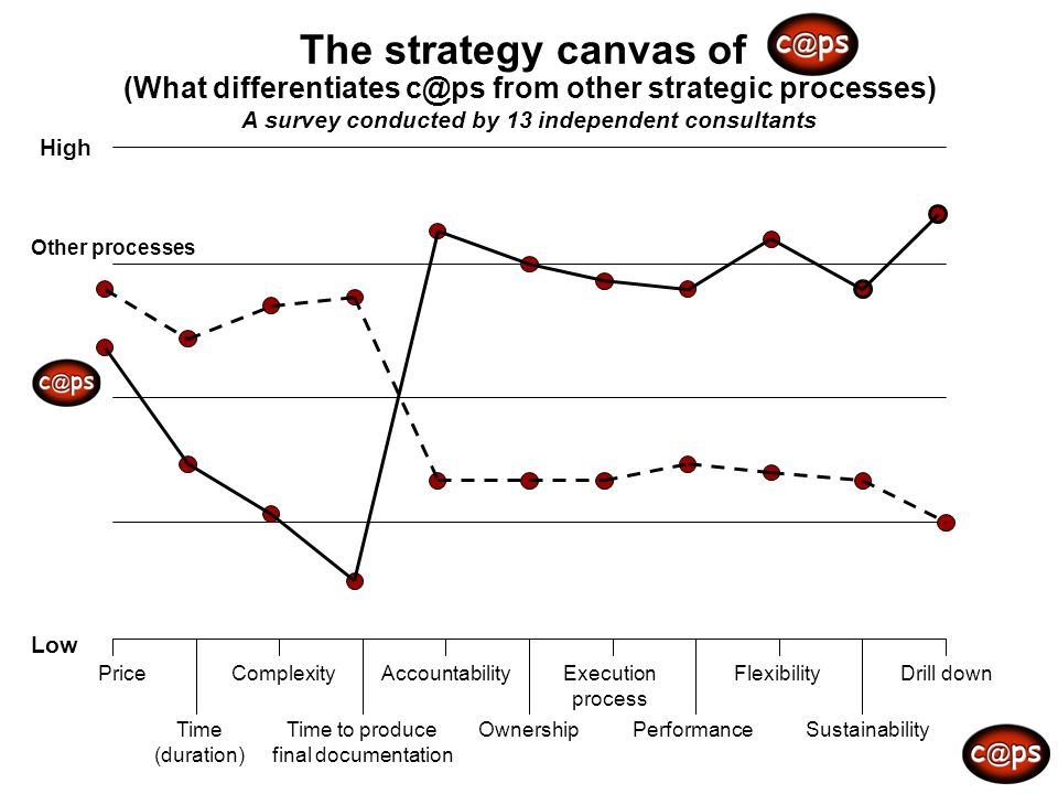 The strategy canvas of (What differentiates from other strategic processes) A survey conducted by 13 independent consultants.
