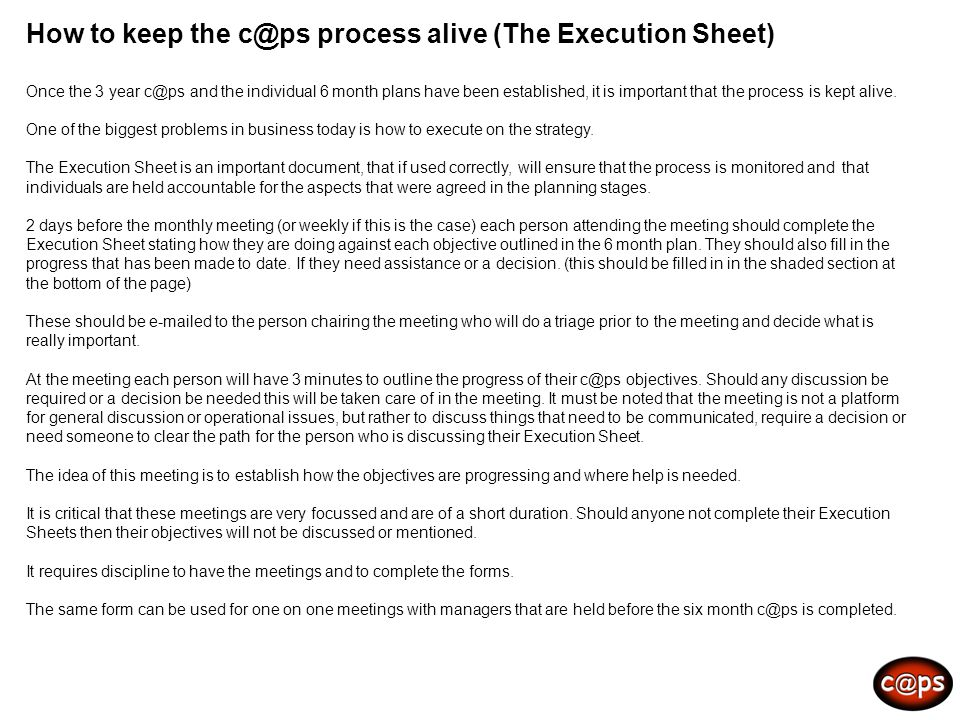 How to keep the process alive (The Execution Sheet)