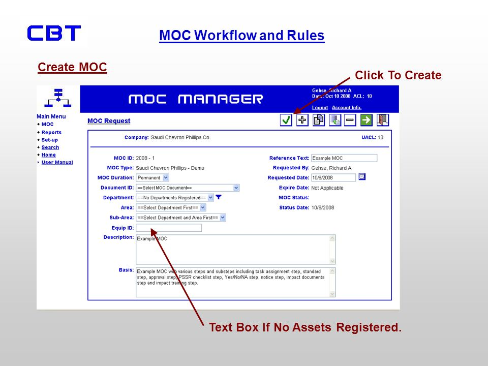 Create MOC Click To Create Text Box If No Assets Registered.