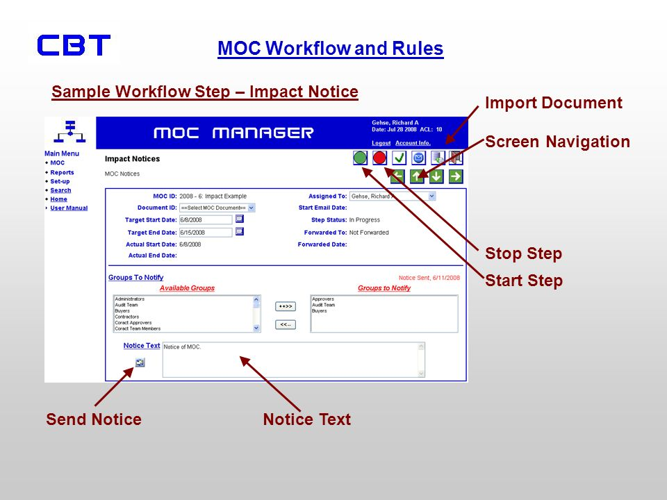 Sample Workflow Step – Impact Notice