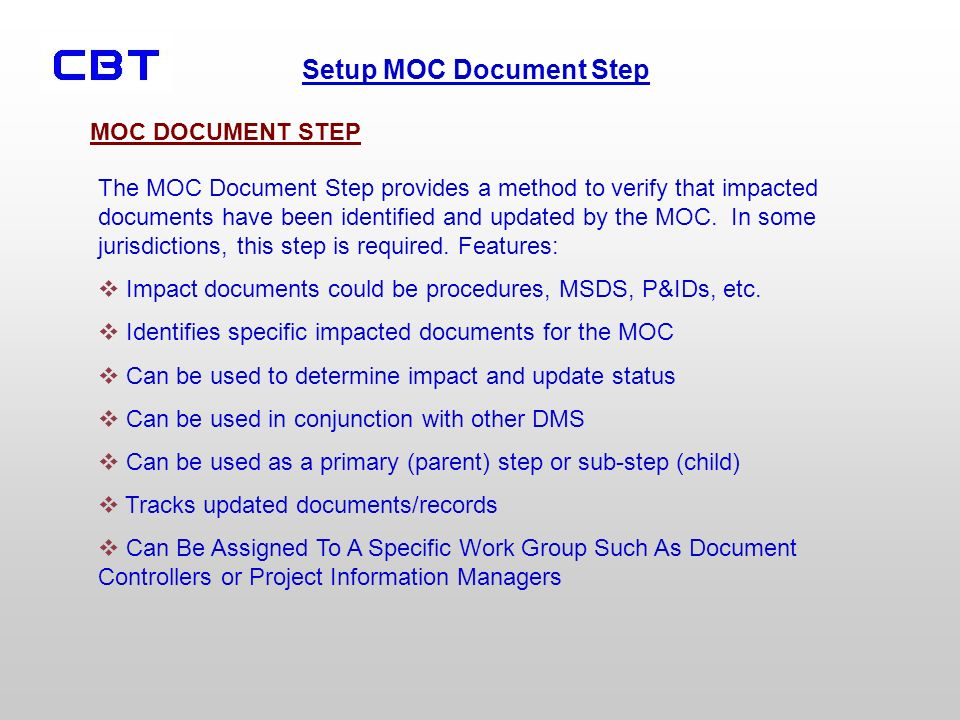 MOC DOCUMENT STEP