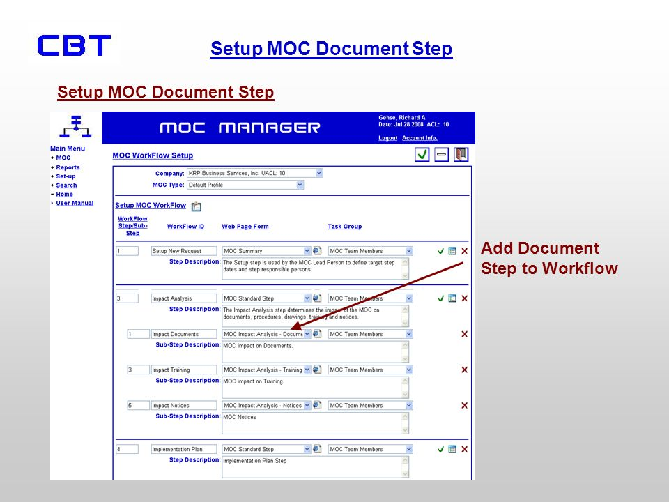 Setup MOC Document Step