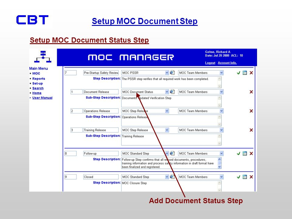 Setup MOC Document Status Step