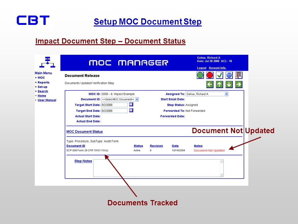 Impact Document Step – Document Status