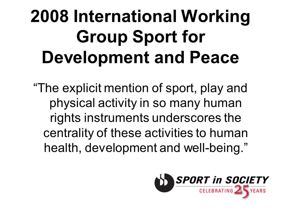 2008 International Working Group Sport for Development and Peace