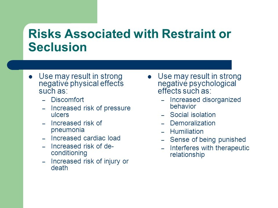 Risks Associated with Restraint or Seclusion