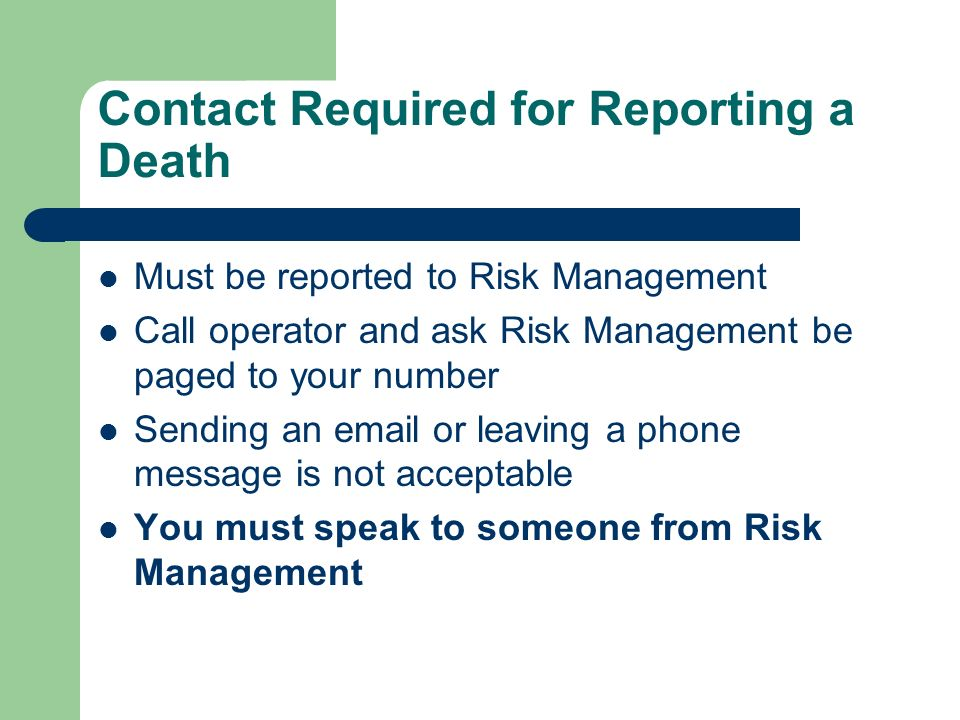 Contact Required for Reporting a Death